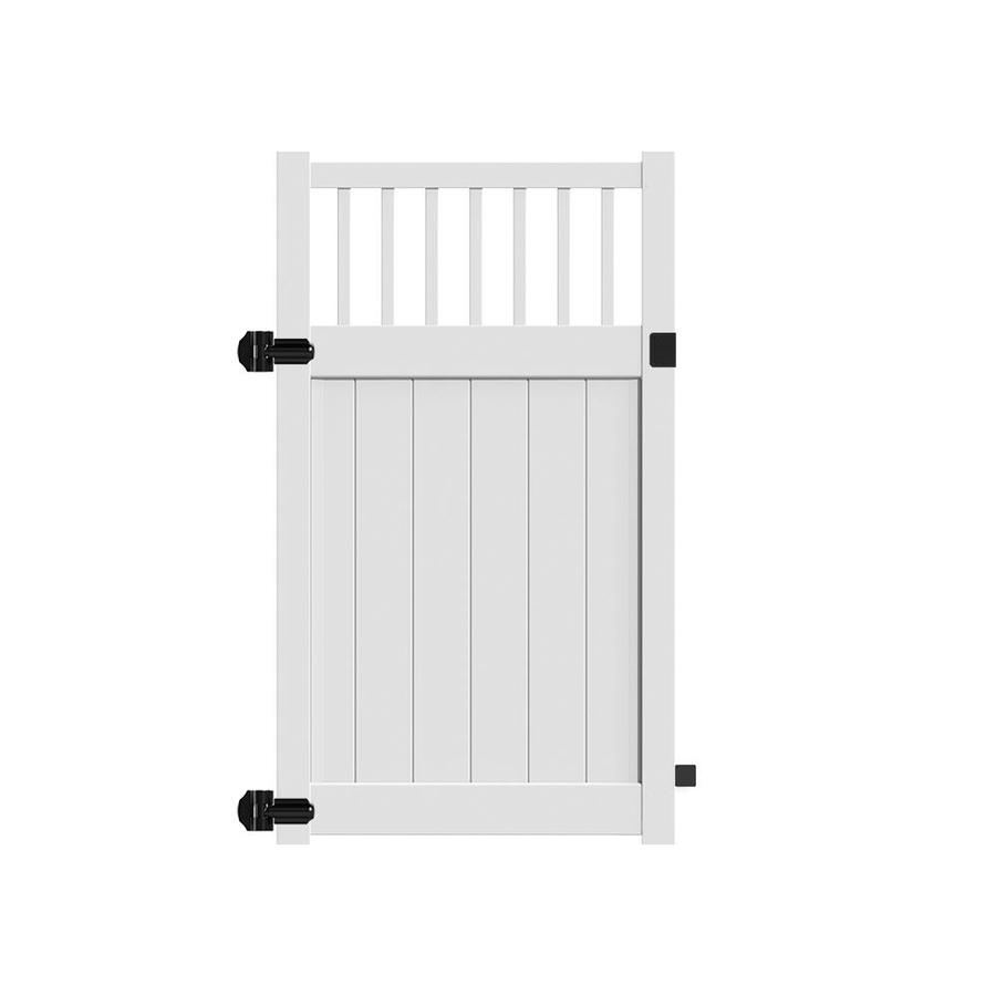 Freedom (Common: 6-ft x 4-ft; Actual: 5.95-ft x 3.83-ft) Bexley White Vinyl Semi-Privacy Fence Gate
