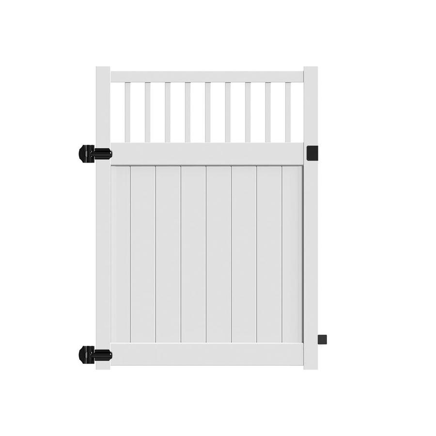 Freedom (Common: 6-ft x 5-ft; Actual: 5.95-ft x 4.83-ft) Bexley White Vinyl Semi-Privacy Fence Gate
