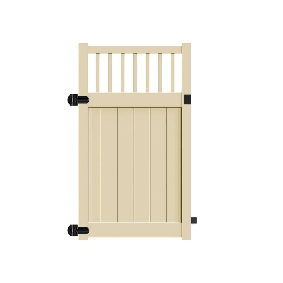 Freedom (Common: 6-ft x 4-ft; Actual: 5.95-ft x 3.83-ft) Bexley Sand Vinyl Semi-Privacy Fence Gate