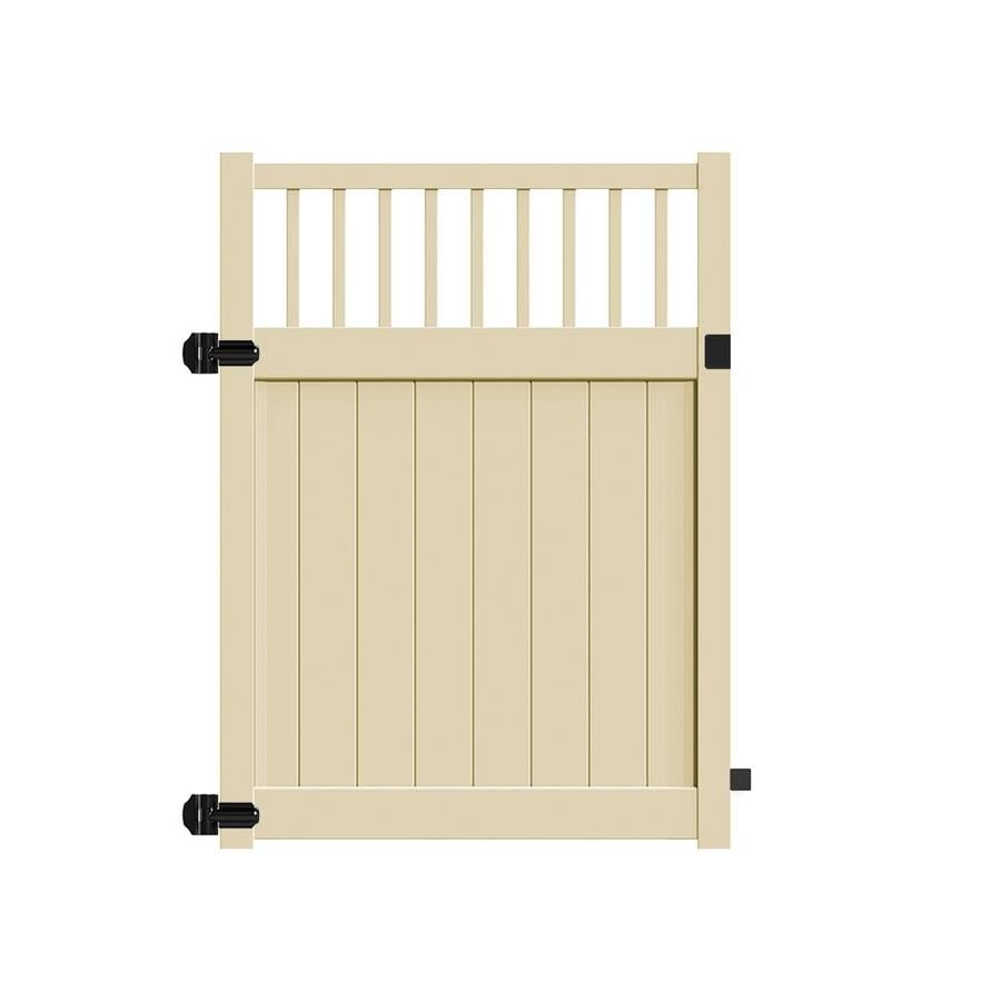 Freedom (Common: 6-ft x 5-ft; Actual: 5.95-ft x 4.83-ft) Bexley Sand Vinyl Semi-Privacy Fence Gate