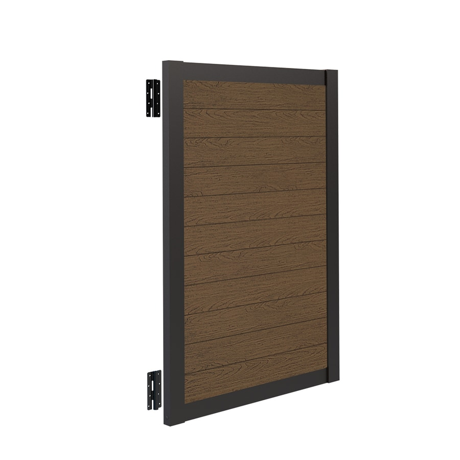 Freedom (Common: 6-ft x 4-ft; Actual: 5.84-ft x 3.88-ft) Artisan Saddle Vinyl Aluminum Privacy Gate