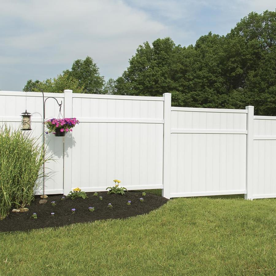 Freedom (Common: 6-ft x 6-ft; Actual: 5.66-ft x 5.45-ft) Pre Assembled Brighton White Vinyl Privacy Fence Panel