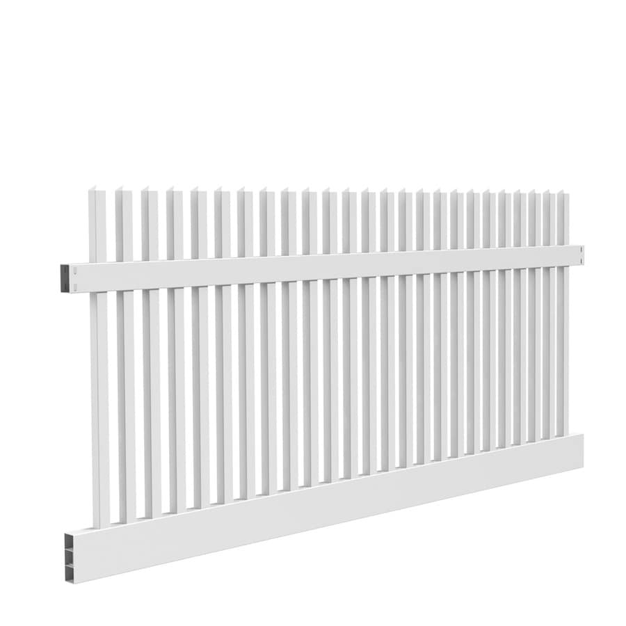 Freedom (Common: 4-ft x 8-ft; Actual: 4-ft x 7.56-ft) Ready To Assemble Keswick White Vinyl Fence Panel