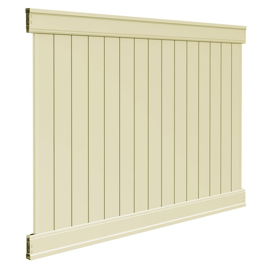 Freedom Ready-To-Assemble Emblem Sand Vinyl Privacy Fence Panel (Common: 6-ft x 8-ft; Actual: 6-ft x 7.82-ft)