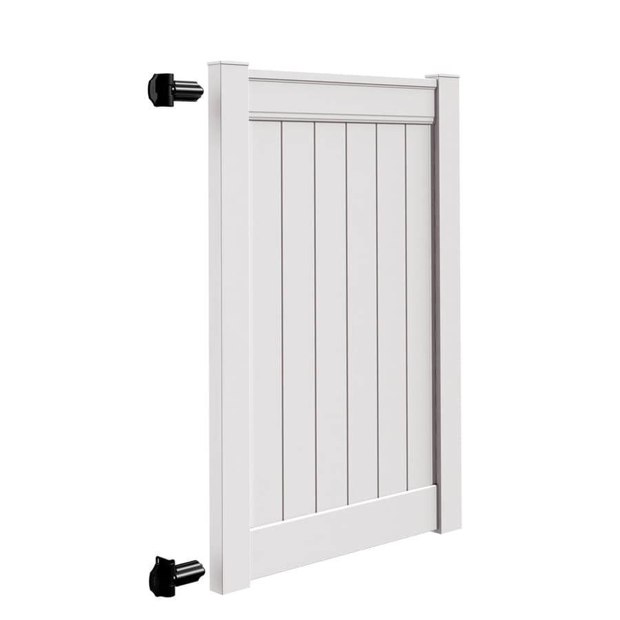 Freedom Emblem White Vinyl Vinyl Fence Gate Kit (Common: 6-ft x 4-ft; Actual: 6-ft x 3.83-ft)