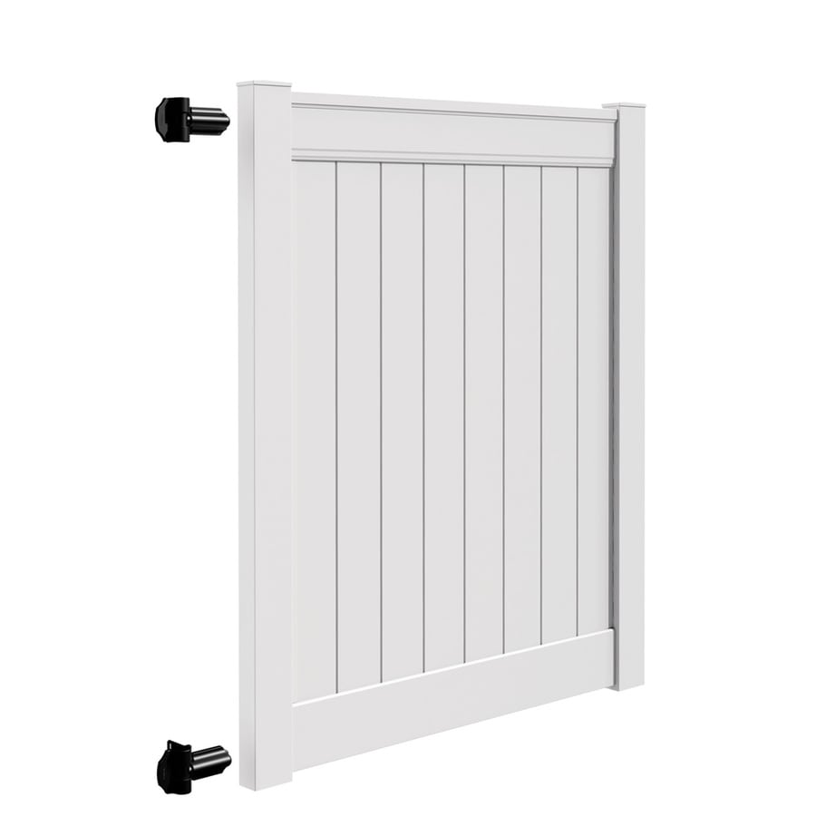 Freedom Emblem White Vinyl Vinyl Fence Gate Kit (Common: 6-ft x 5-ft; Actual: 6-ft x 4.83-ft)