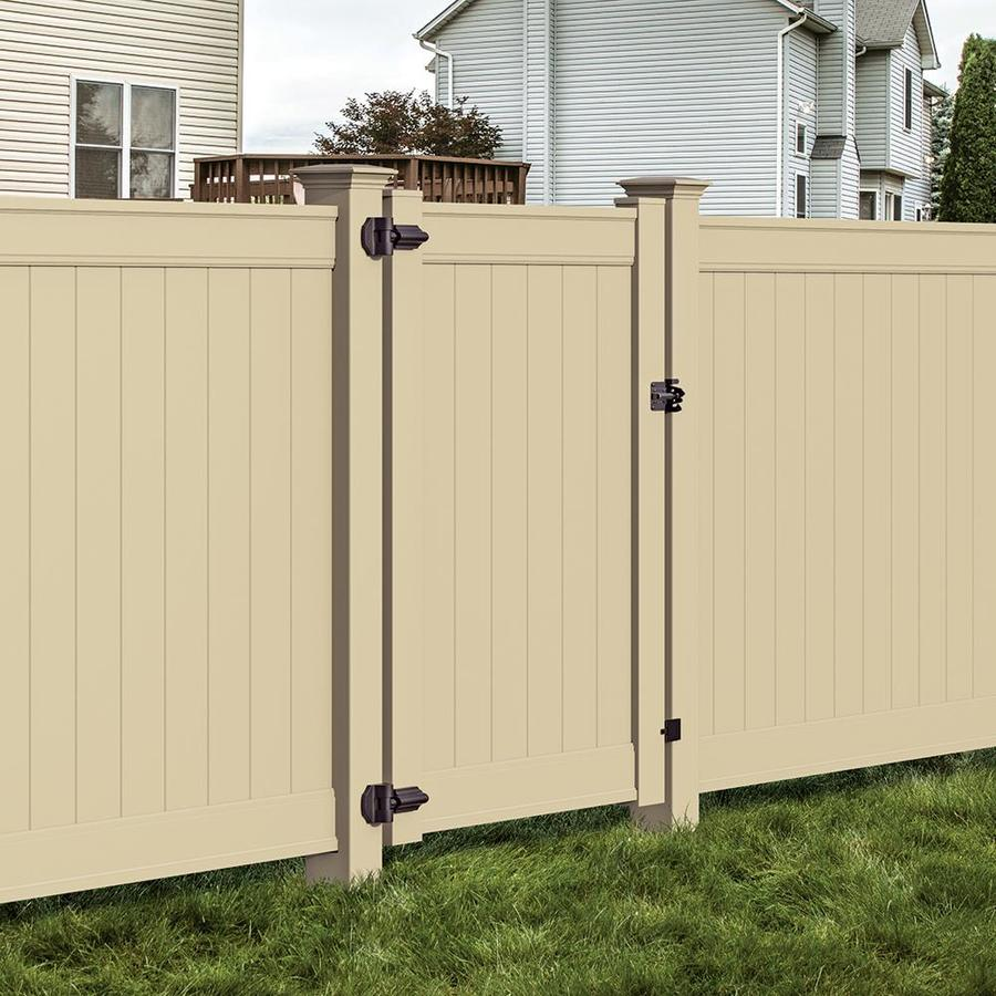Freedom Emblem Sand Vinyl Vinyl Fence Gate Kit (Common: 6-ft x 4-ft; Actual: 6-ft x 3.83-ft)