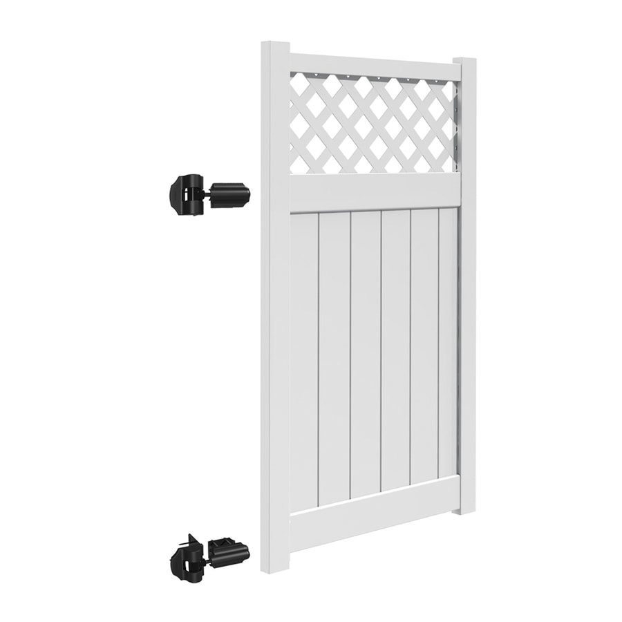Freedom (Common: 6-ft x 4-ft; Actual: 5.95-ft x 3.83-ft) Freeport White Vinyl Semi-privacy Gate