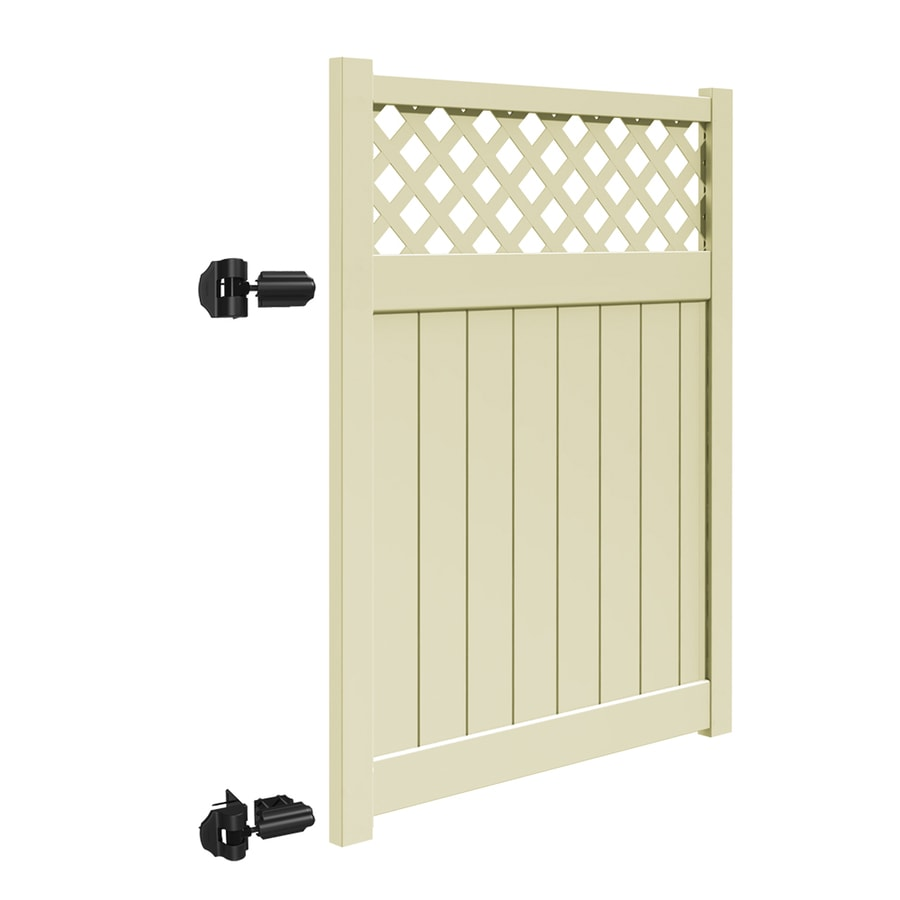 Freedom (Common: 6-ft x 5-ft; Actual: 5.95-ft x 4.83-ft) Freeport Sand Vinyl Semi-privacy Gate
