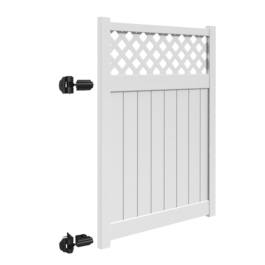 Freedom (Common: 6-ft x 5-ft; Actual: 5.95-ft x 4.83-ft) Freeport White Vinyl Semi-privacy Gate