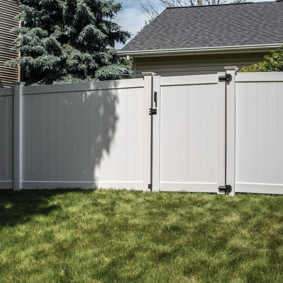 Freedom (Common: 6-ft x 4-ft; Actual: 5.95-ft x 3.83-ft) White Vinyl Privacy Fence Gate