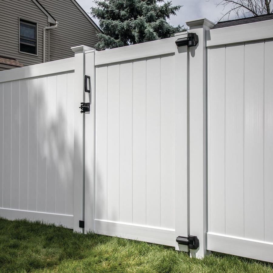 Freedom (Common: 6-ft x 5-ft; Actual: 5.95-ft x 4.83-ft) White Vinyl Privacy Gate