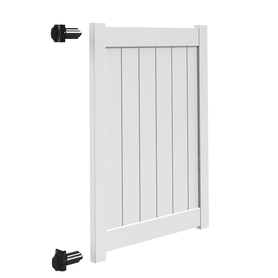Freedom (Common: 5-ft x 4-ft; Actual: 4.95-ft x 3.83-ft) White Vinyl Privacy Fence Gate