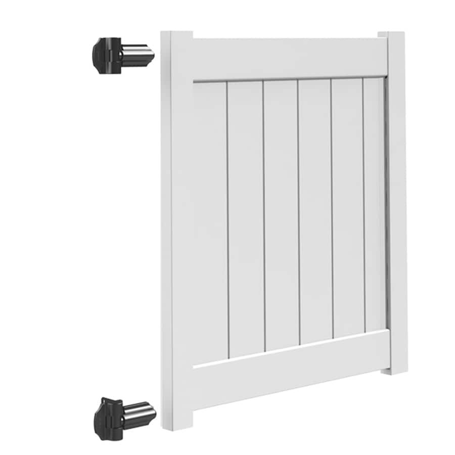 Freedom (Common: 4-ft x 4-ft; Actual: 3.95-ft x 3.83-ft) White Vinyl Privacy Fence Gate