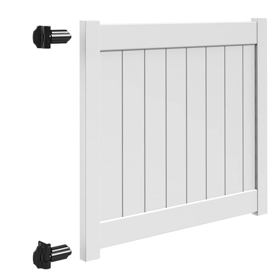 Freedom (Common: 4-ft x 5-ft; Actual: 3.95-ft x 4.83-ft) White Vinyl Privacy Gate