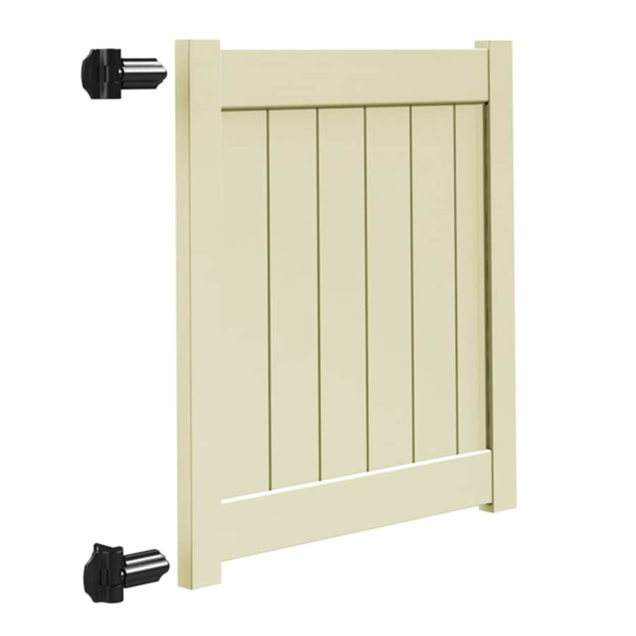 Freedom (Common: 4-ft x 4-ft; Actual: 3.95-ft x 3.83-ft) Sand Vinyl Privacy Fence Gate