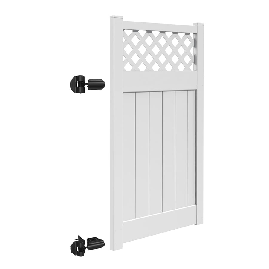 Freedom (Common: 6-ft x 4-ft; Actual: 5.95-ft x 3.83-ft) Conway White Vinyl Semi-Privacy Fence Gate