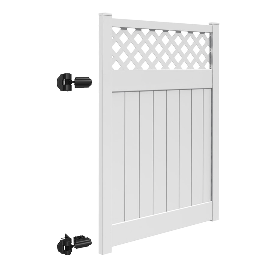 Freedom (Common: 6-ft x 5-ft; Actual: 5.95-ft x 4.83-ft) Conway White Vinyl Semi-Privacy Fence Gate