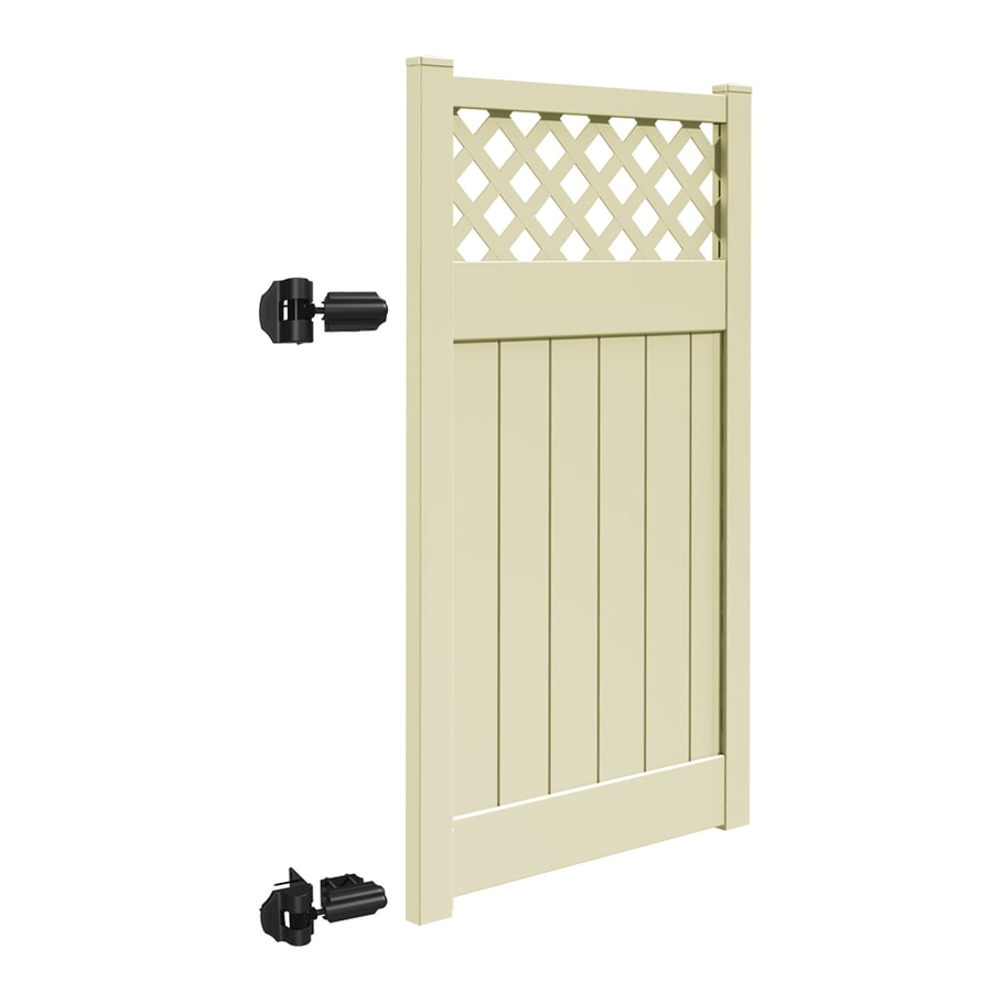 Freedom (Common: 6-ft x 4-ft; Actual: 5.95-ft x 3.83-ft) Conway Sand Vinyl Semi-Privacy Fence Gate