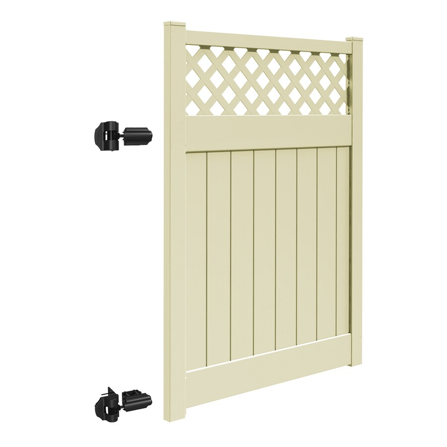 Freedom (Common: 6-ft x 5-ft; Actual: 5.95-ft x 4.83-ft) Conway Sand Vinyl Semi-Privacy Fence Gate