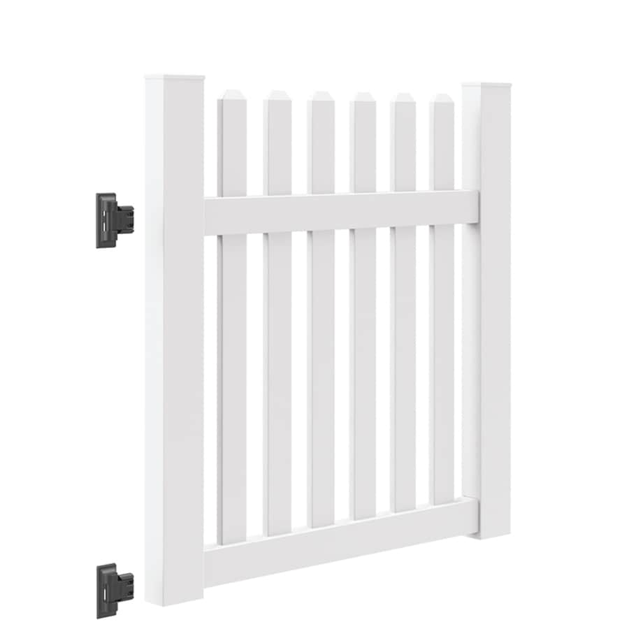 Freedom (Common: 4-ft x 4-ft; Actual: 4-ft x 3.83-ft) Coventry White Vinyl (Not Metal) (Not Wood) Vinyl Fence Gate