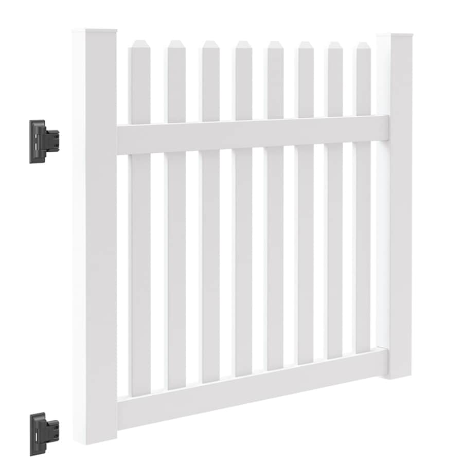 Freedom (Common: 4-ft x 5-ft; Actual: 4-ft x 4.83-ft) Coventry White Vinyl Fence Gate