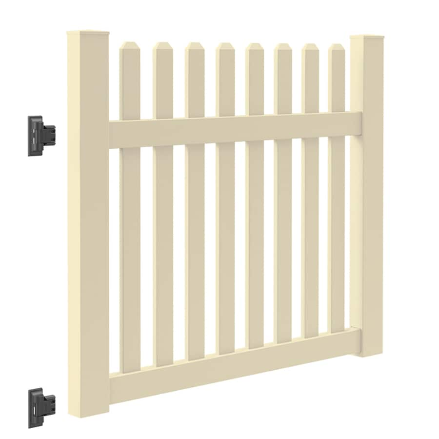 Freedom (Common: 4-ft x 5-ft; Actual: 4-ft x 4.83-ft) Coventry Sand Vinyl Fence Gate
