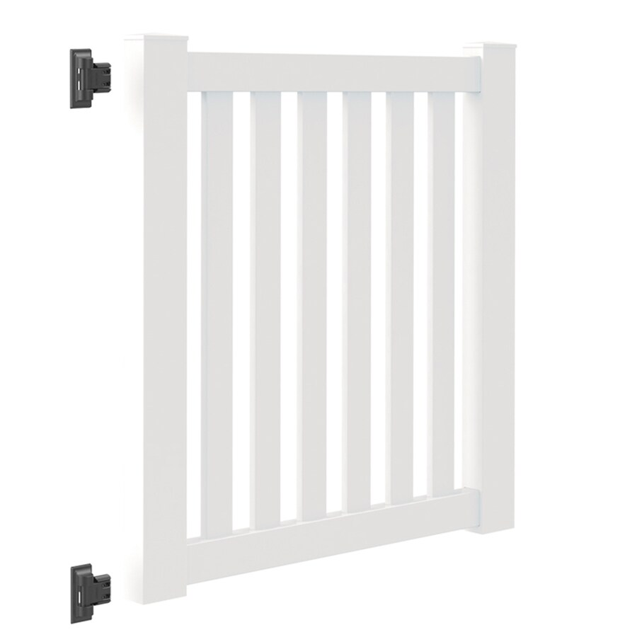 Freedom (Common: 4-ft x 4-ft; Actual: 4-ft x 3.83-ft) Durham White Vinyl Gate