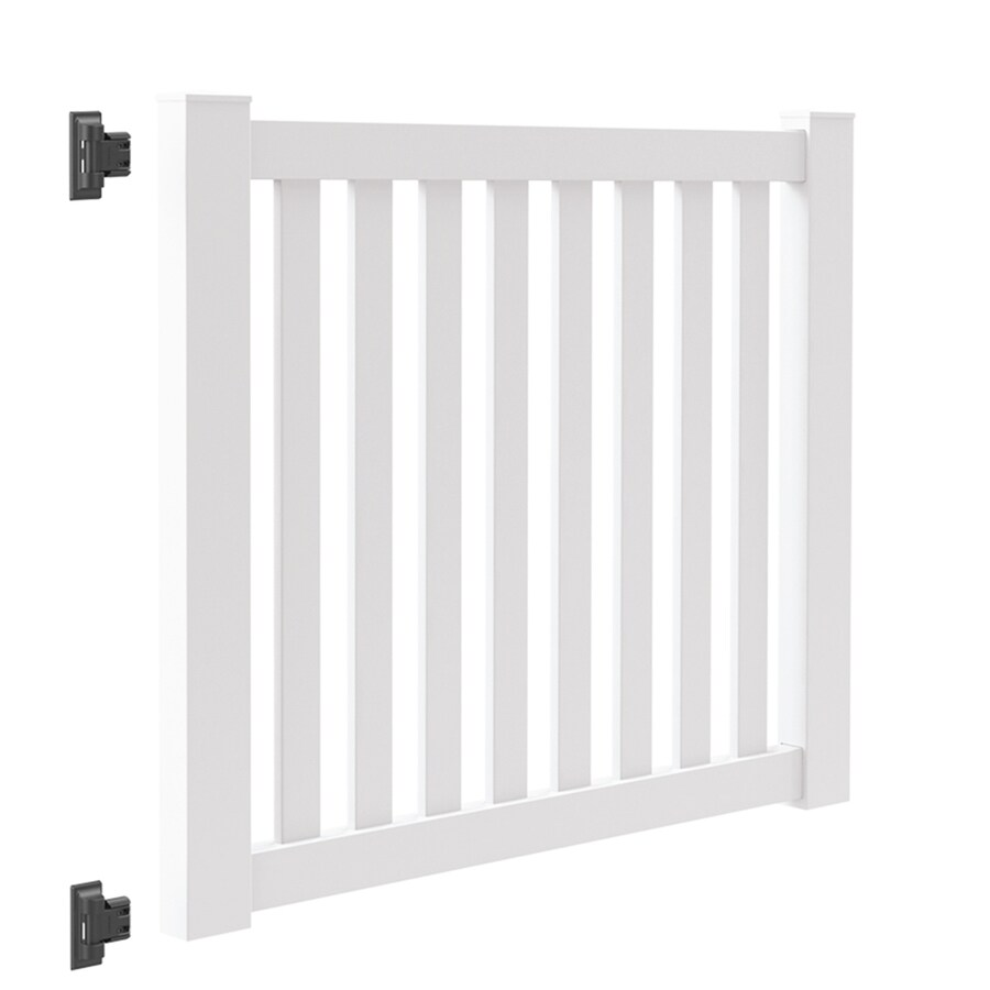 Freedom (Common: 4-ft x 5-ft; Actual: 4-ft x 4.83-ft) Durham White Vinyl Fence Gate