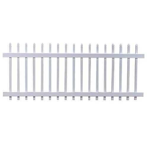 "Freedom 36.50"" x 7.68' White Classic Gothic Vinyl Picket Fence Panel"