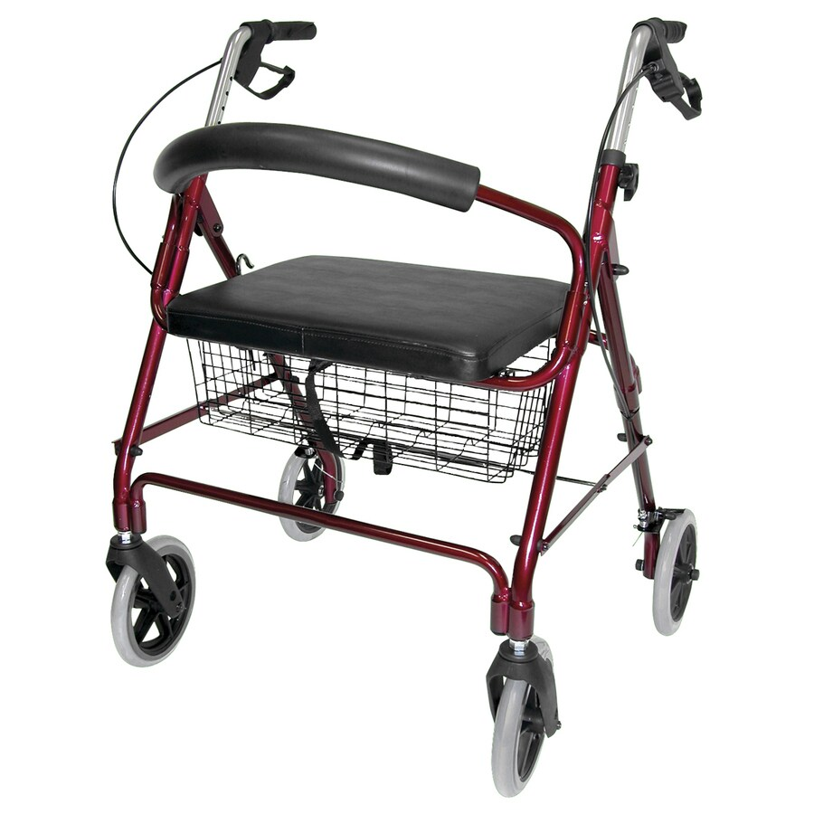 DMI Burgundy Fold-Up/Easy Storage Rollator