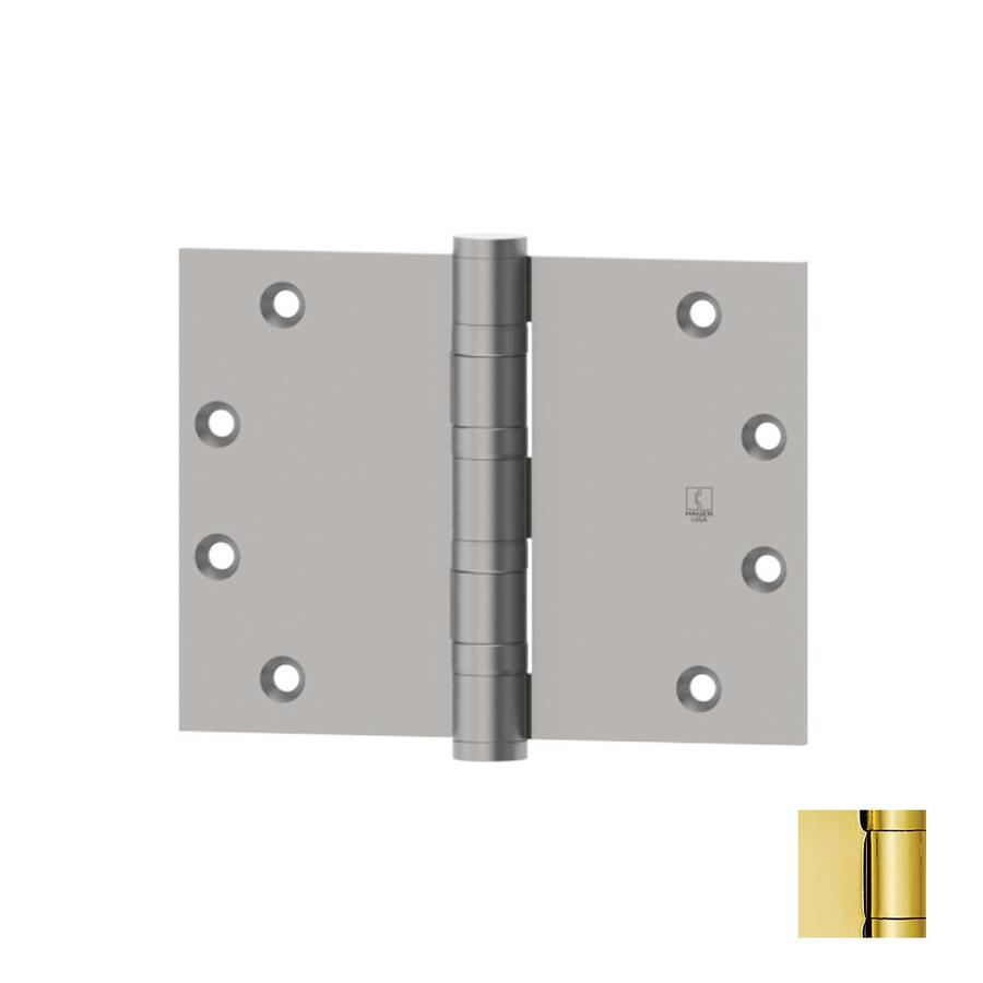 Hager 4.5-in H Polished Brass Radius Interior/Exterior Mortise Door Hinge