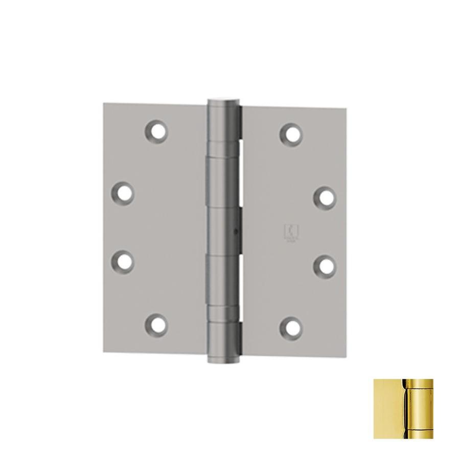 Hager 4.5000-in H Polished Brass Radius Interior/Exterior Mortise Door Hinge