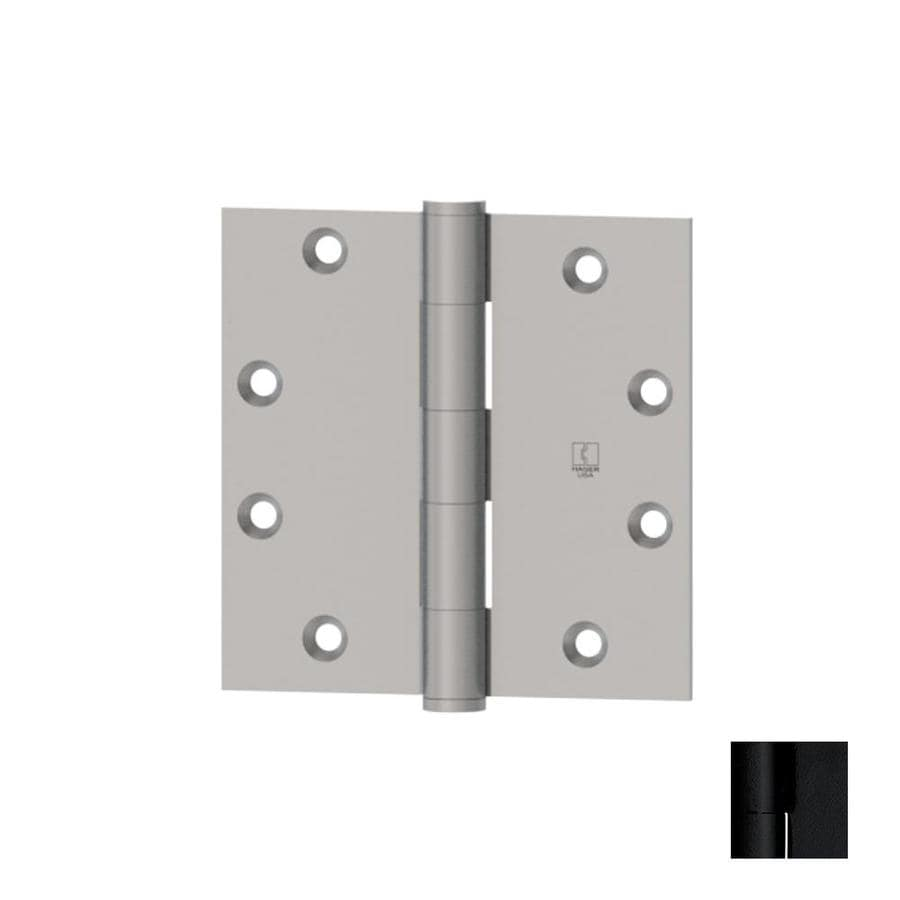Hager 4-in H Flat Black Radius Interior Mortise Door Hinge