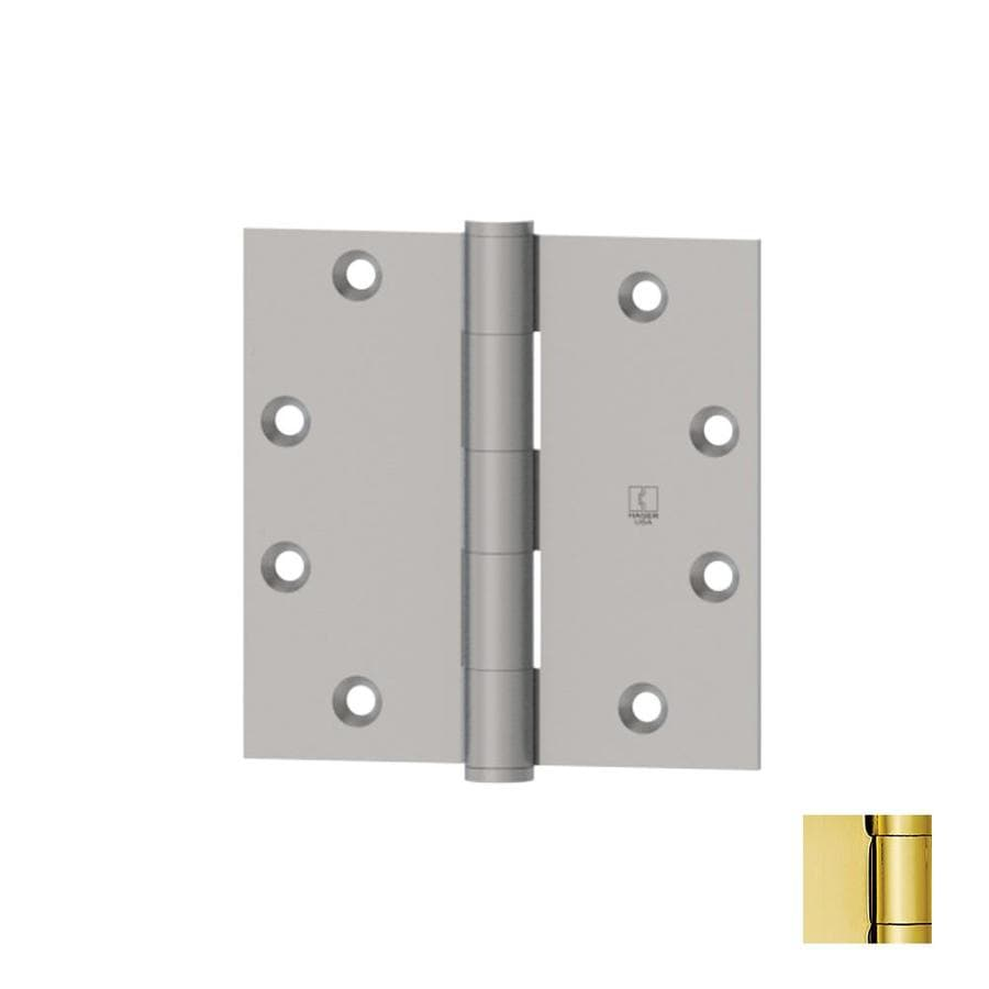 Hager 4.5000-in H Polished Brass Radius Interior Mortise Door Hinge