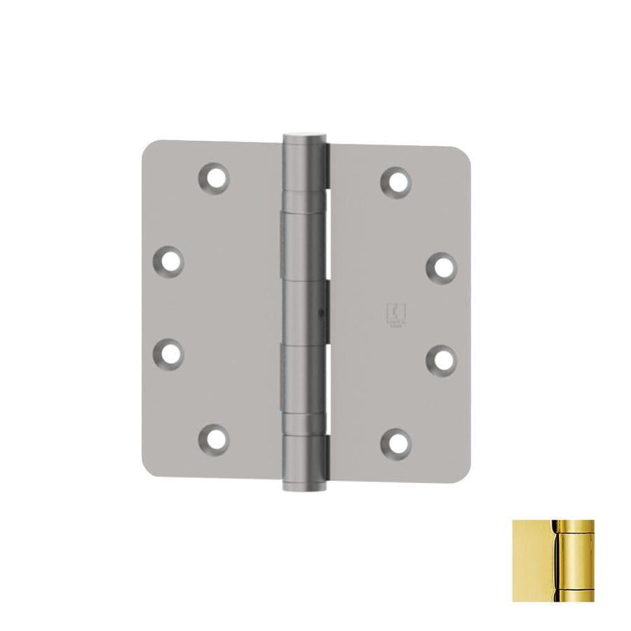 Hager 4.5-in H Polished Brass 1/4-in Radius Interior Mortise Door Hinge