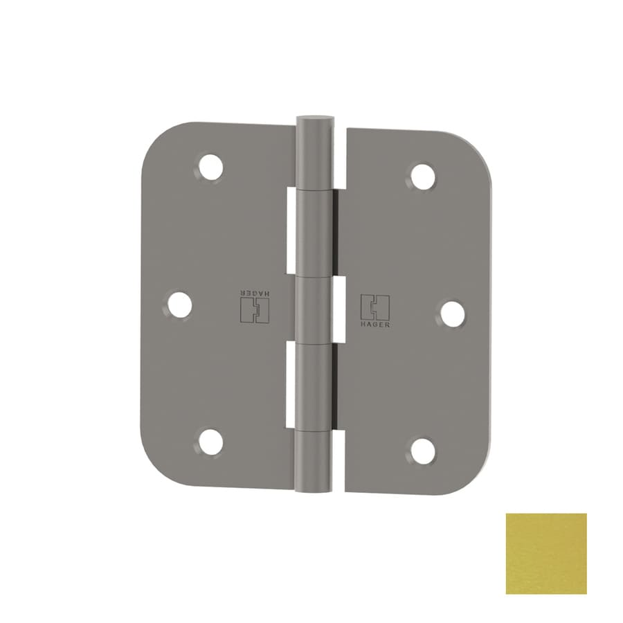 Hager 3.5-in H Satin Brass 5/8-in Radius Interior Mortise Door Hinge