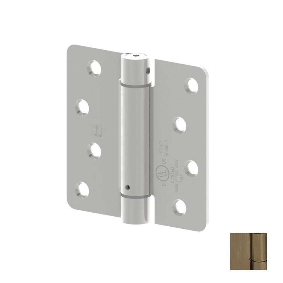 Hager 4-in H Antique Brass 1/4-in Radius Interior Mortise Door Hinge