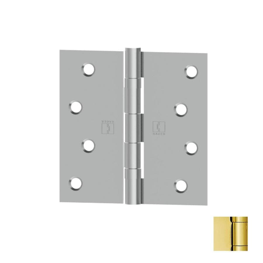 Hager 4-in H Polished Brass Radius Interior/Exterior Mortise Door Hinge