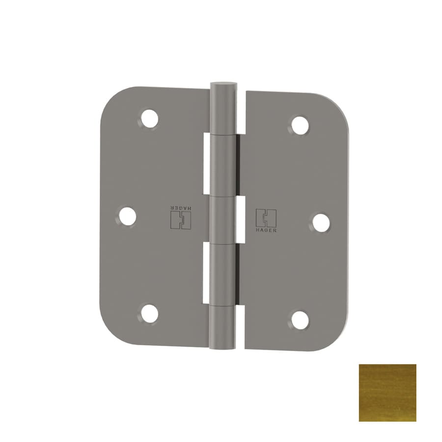 Hager 3.5-in H Antique Brass 5/8-in Radius Interior Mortise Door Hinge