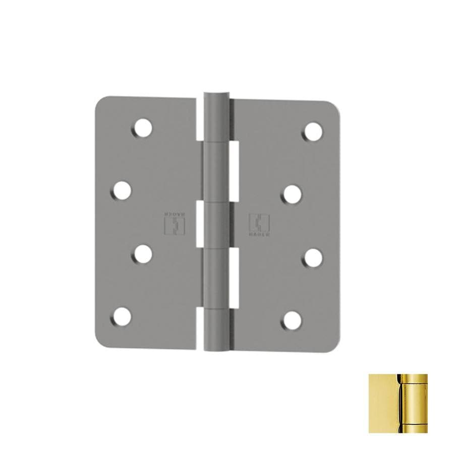 Hager 4-in H Polished Brass 1/4-in Radius Interior/Exterior Mortise Door Hinge