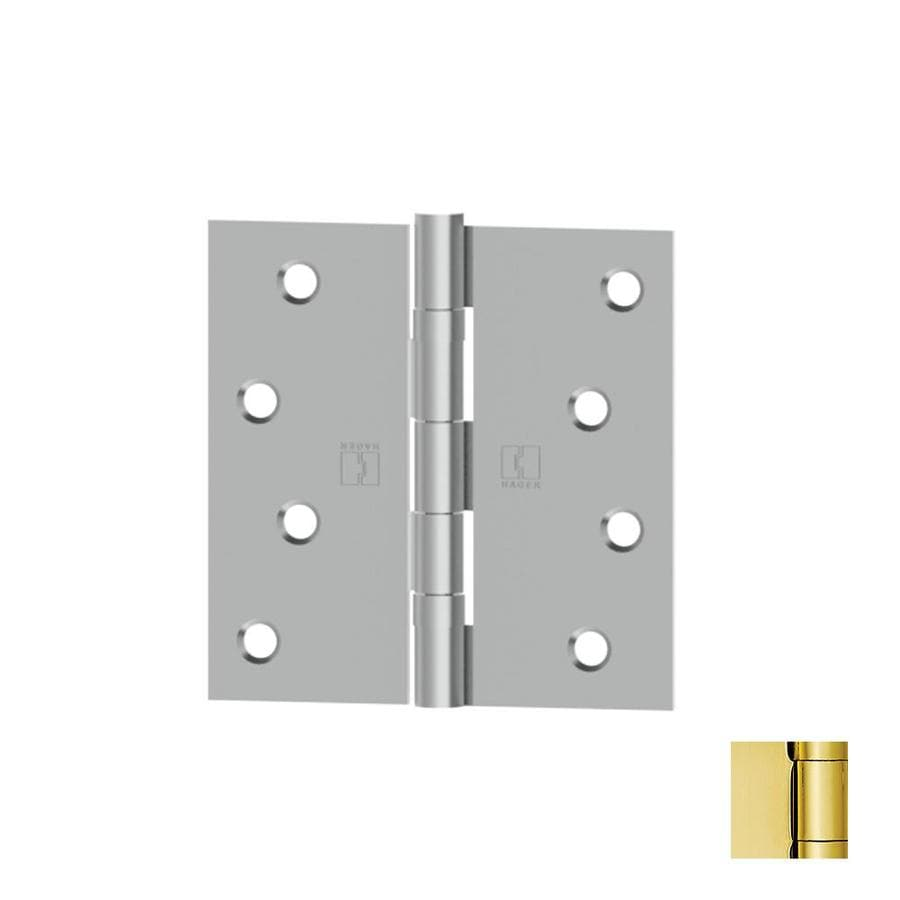 Hager 4-in H Polished Brass Radius Interior Mortise Door Hinge