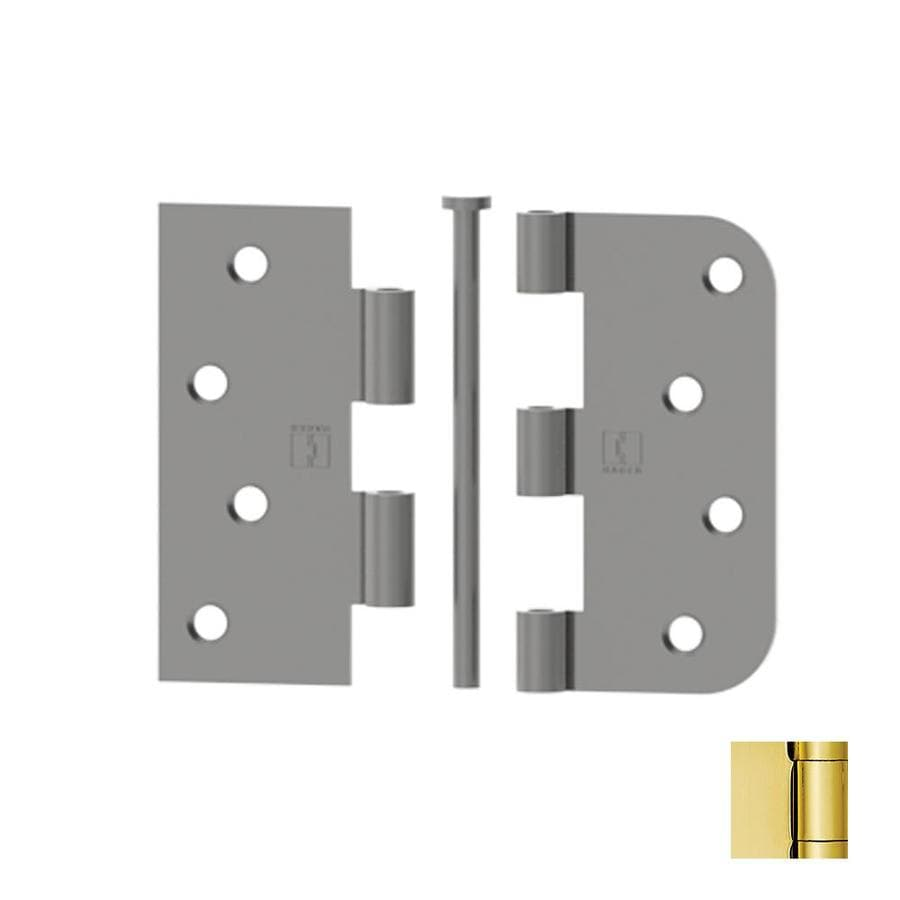Hager 4-in H Polished Brass 5/8-in Radius Interior Mortise Door Hinge
