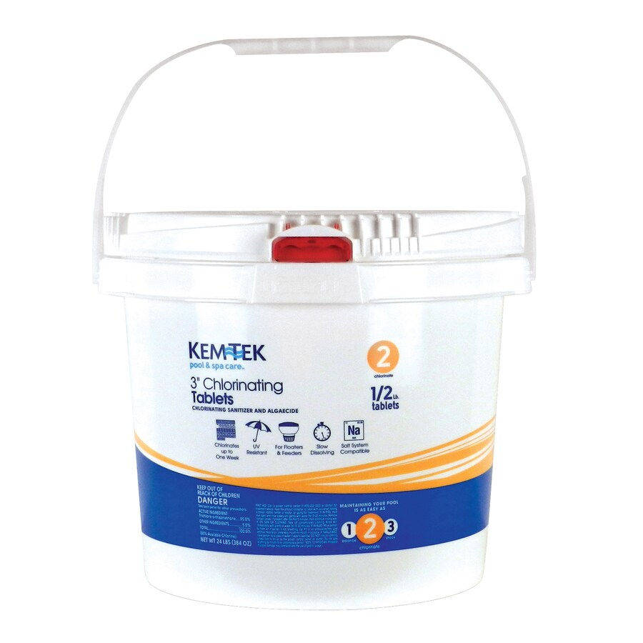 Superbe Kem Tek 24 Lb Bucket 3 In Pool Chlorine Tabs