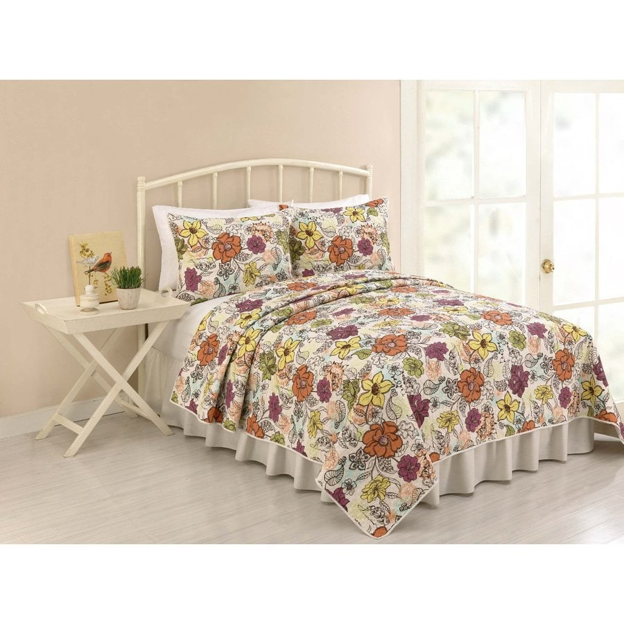Modern Heirloom Ginger 3-Piece Multicolor Full/Queen Quilt Set