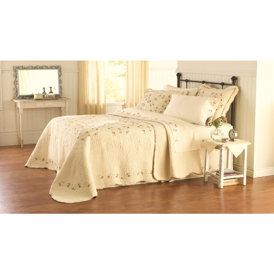 Modern Heirloom Felisa Embroidered 1-Piece Cream Queen Bedspread Set
