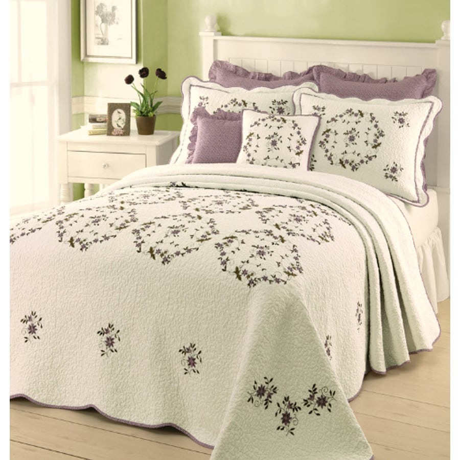 Modern Heirloom Gwen Embroidered 1-Piece Cream Queen Bedspread Set