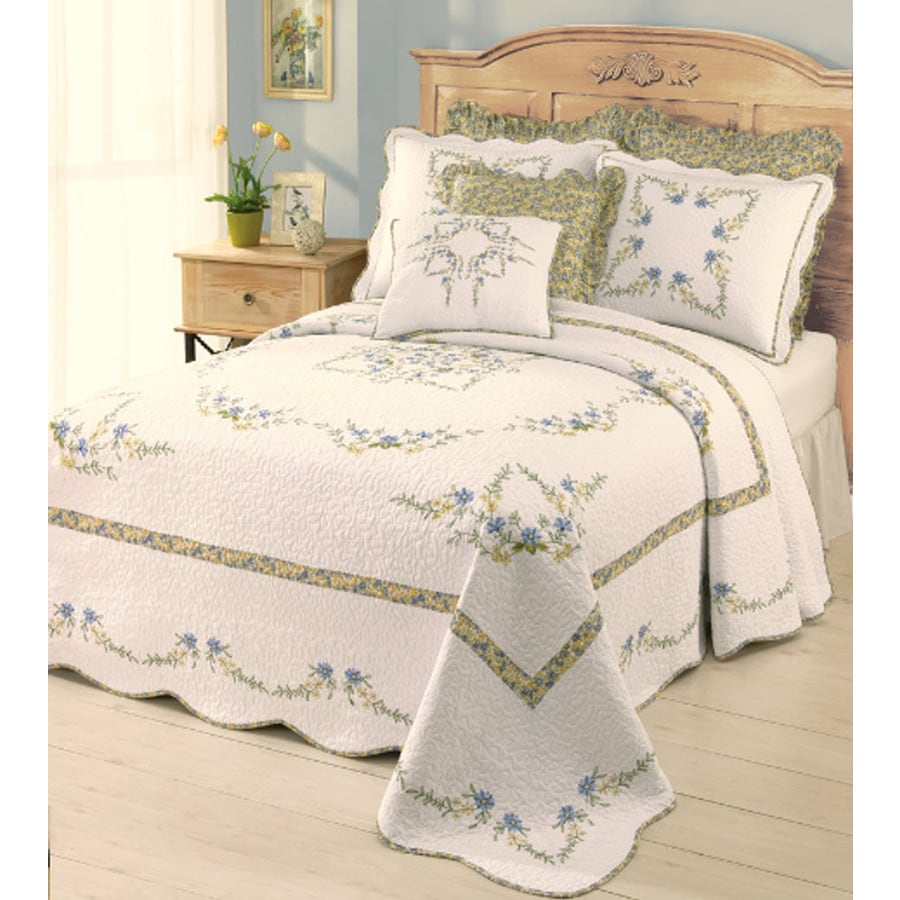 Modern Heirloom Heather Embroidered 1-Piece White Queen Bedspread Set