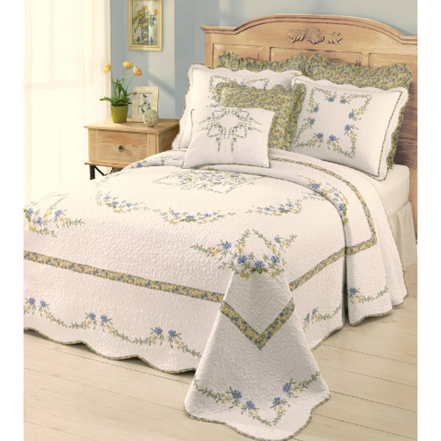 Modern Heirloom Heather Embroidered 1-Piece White King Bedspread Set
