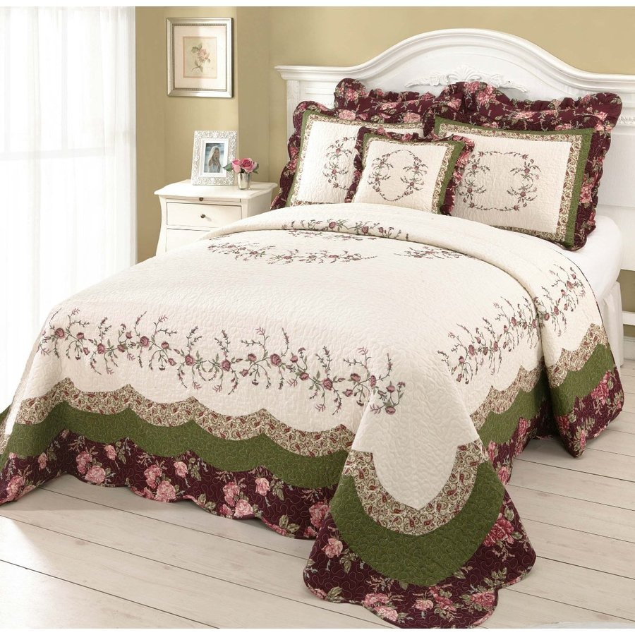 Modern Heirloom Brooke Embroidered 1-Piece Multicolor Queen Bedspread Set